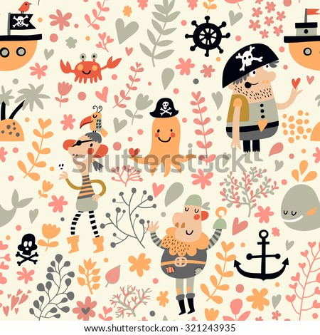 Funny pirates in cartoon seamless pattern. Sweet background with pirates, flowers, ship, whale, crab and octopus. Awesome seamless pattern in vector - stock vector