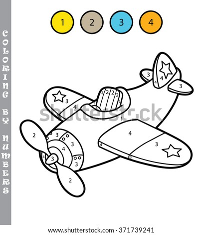 funny plane coloring educational game. Vector illustration coloring by numbers educational  game of cartoon plane for kids