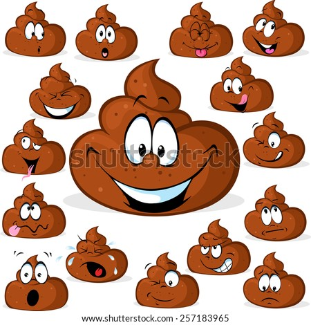 funny poo with many expressions isolated on white background - stock vector