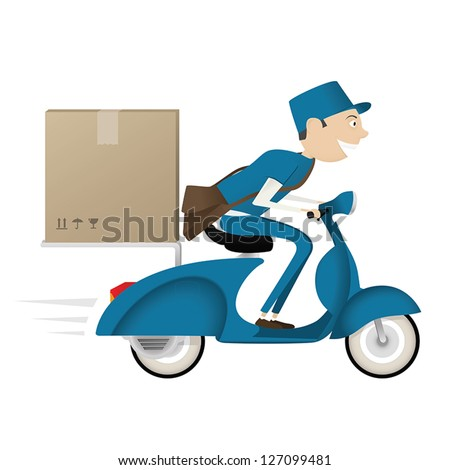 Funny postman delivering package on blue scooter isolated on white background - stock vector