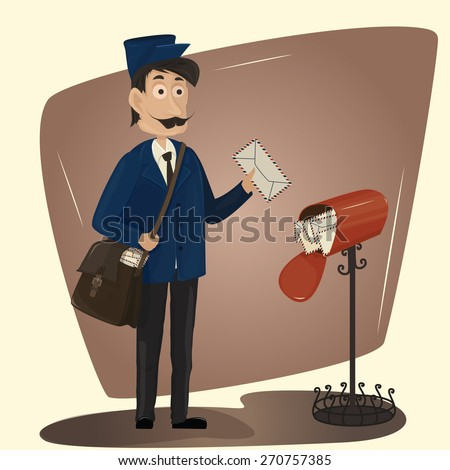Funny postman with letter and red mailbox-Vector Illustration - stock vector