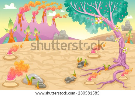 Funny prehistoric landscape. Vector and cartoon illustration. - stock vector