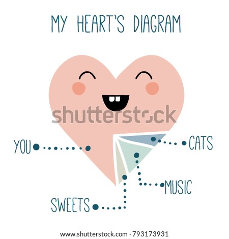 Funny print cute heart diagram cartoon stock vector royalty free funny print with cute heart diagram cartoon heart shape with face lovely illustration for ccuart Image collections