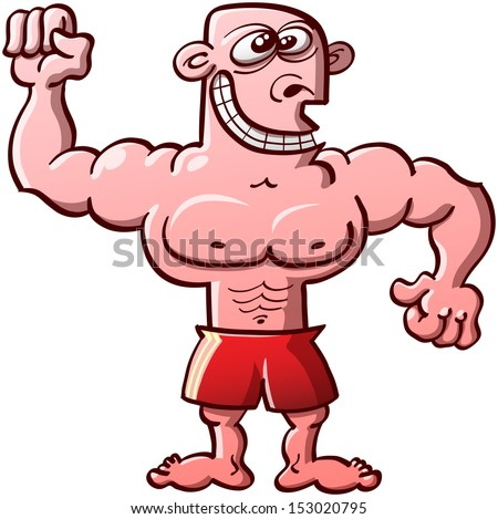 Funny, proud and odd bodybuilder wearing red shorts and smiling weirdly while clenching his fists and showing his muscles - stock vector