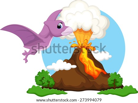 Funny pterodactyl flying with background volcanoes - stock vector