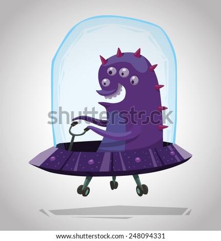 Funny Purple Alien, vector - stock vector