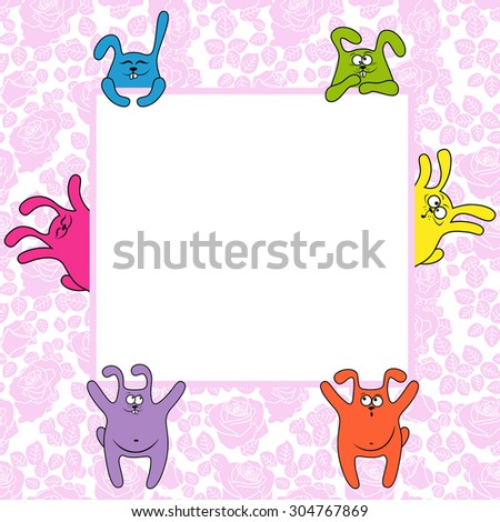 Funny rabbits holding a big advertising banner, vector illustration on the seamless rose background - stock vector