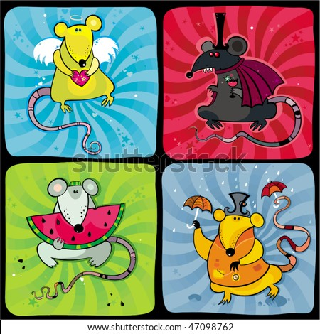 Funny rats series 2 - stock vector