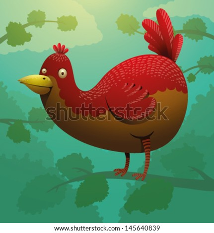 Funny red bird on a tree, vector - stock vector