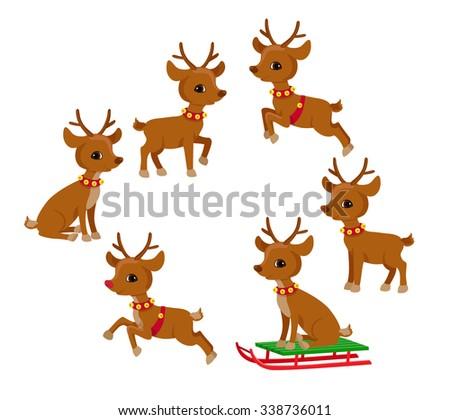 Funny Reindeer Christmas set. Holiday cartoon vector illustration. - stock vector
