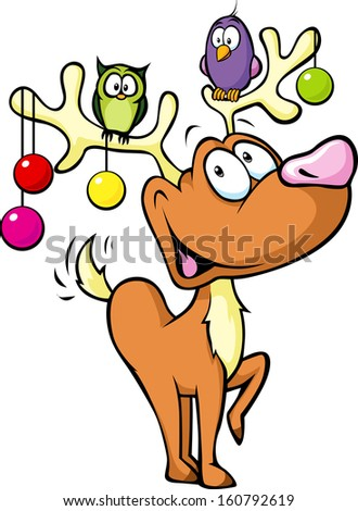 Funny reindeer with christmas balls and birds sitting on antlers isolated on white background - stock vector