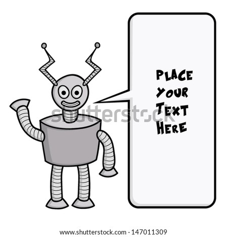 Funny robot with speech box. - stock vector