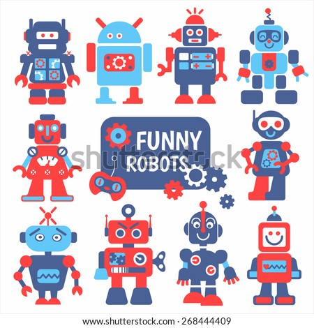 Funny robots set. 10 cheerful robots for design.