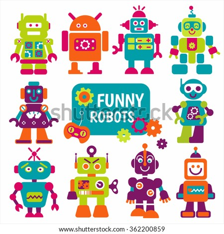 Funny robots set. 10 cheerful robots for design. Can use for production for children.
