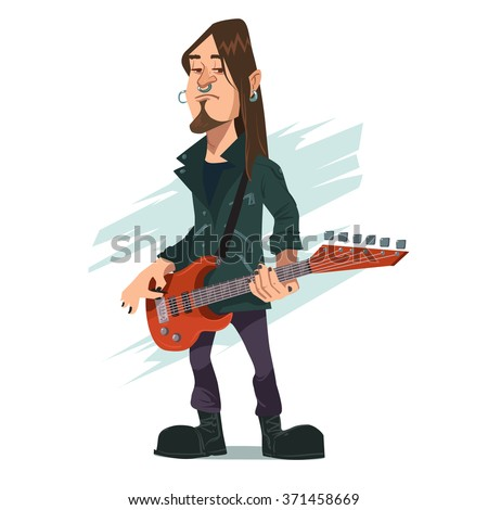 funny rock star playing guitar, guitarist, heavy metal, band person, cartoon character - stock vector