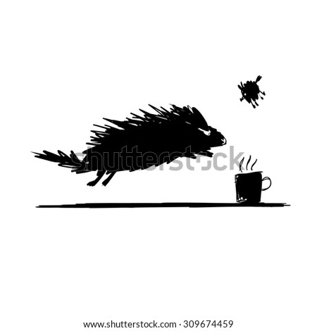 Funny rodent black silhouette. Sketch for your design. Vector illustration