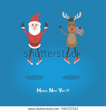 funny Santa and reindeer in sneakers . Listening to music and jumping