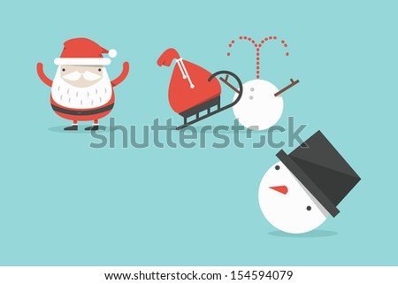 Funny Santa and snowman accident, vector - stock vector