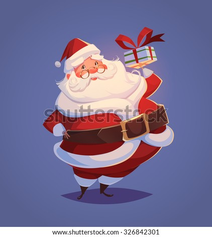 Funny santa. Christmas greeting card \ background \ poster. Vector illustration. - stock vector