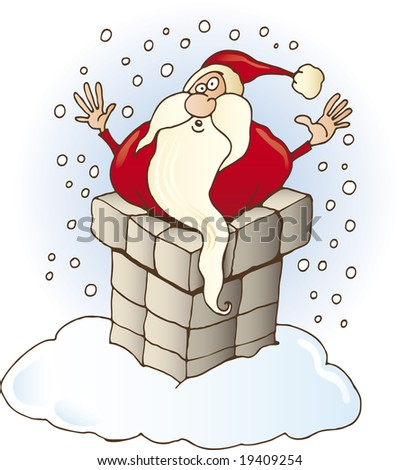 Funny Santa Claus stuck in chimney on the roof