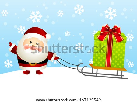 Funny Santa with gift box