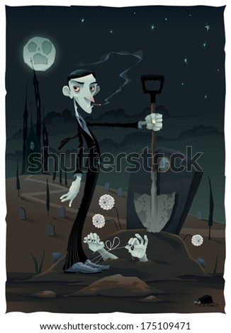 Funny scene in the cemetery. Cartoon and vector illustration - stock vector