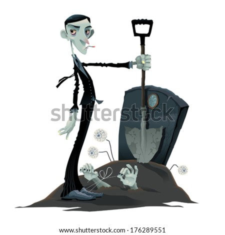 Funny scene in the cemetery. Cartoon and vector isolated illustration. - stock vector