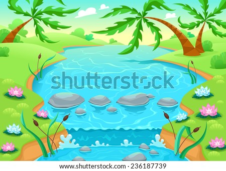Funny scene in the jungle. Vector cartoon illustration. - stock vector