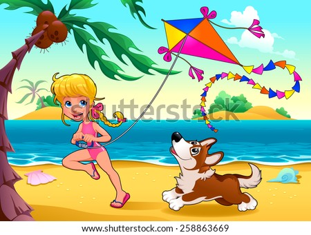 Funny scene with girl and dog on the beach. Vector cartoon illustration - stock vector