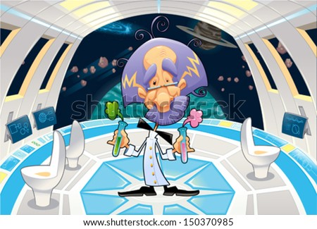 Funny scientist in a spaceship. Cartoon and vector illustration. - stock vector