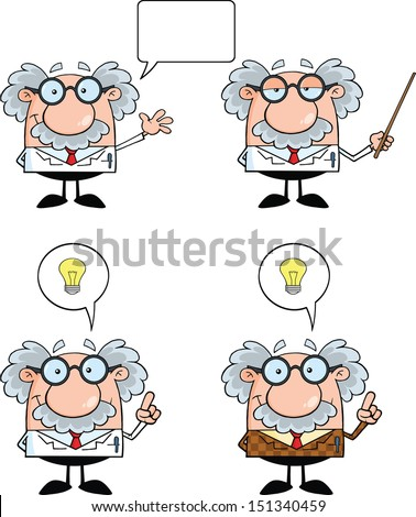 Funny Scientist Or Professor Cartoon Characters. Set Vector Collection 3 - stock vector
