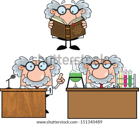 Funny Scientist Or Professor Cartoon Characters. Set Vector Collection 6 - stock vector
