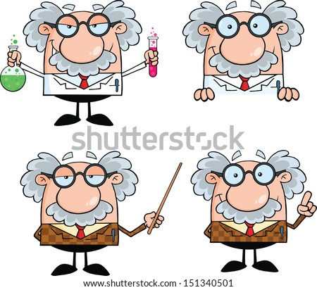 Funny Scientist Or Professor Cartoon Characters. Set Vector Collection 7 - stock vector