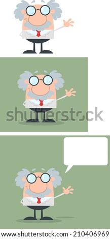 Funny Scientist Or Professor Waving With Speech Bubble Flat Design. Vector Collection Set - stock vector