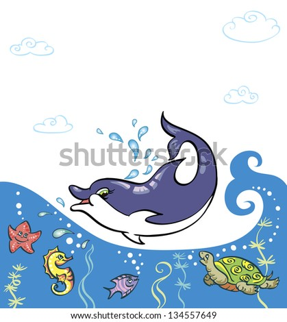 Funny sea animals in the waves. Dolphin Is it in the water, they all look at him. Children's picture bright colors. There is a place for your text. - stock vector