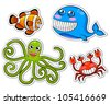funny sea creatures (JPEG version available in my gallery) - stock vector
