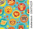 Funny seamless pattern with cartoon animal heads - vector illustration - stock vector