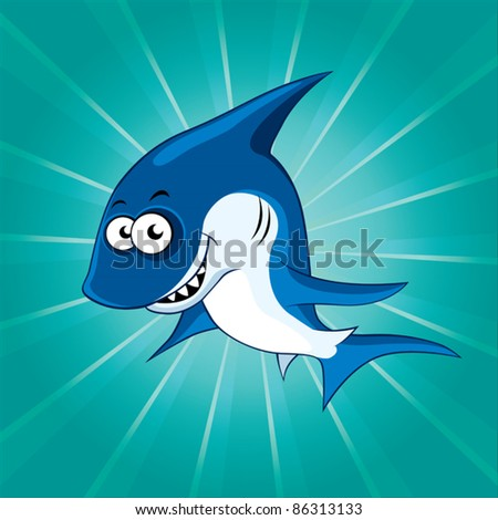 Funny shark on the blue background - stock vector