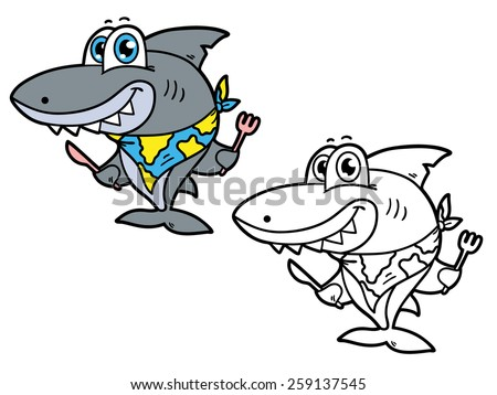 funny shark. Vector illustration coloring page of happy cartoon shark for children and scrap book - stock vector