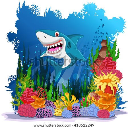 funny shark with sea life background - stock vector