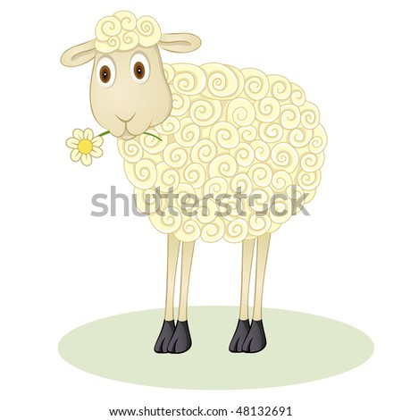 Funny sheep illustration, whit a flower - stock vector