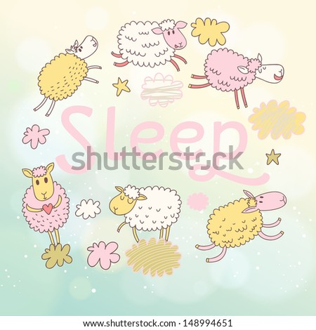 Funny sheep on clouds in vector card. Cartoon childish background. Sleeping concept illustration  - stock vector