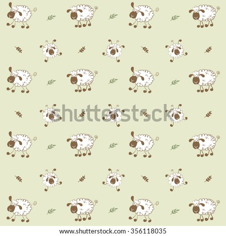 Funny sheep pattern. - stock vector
