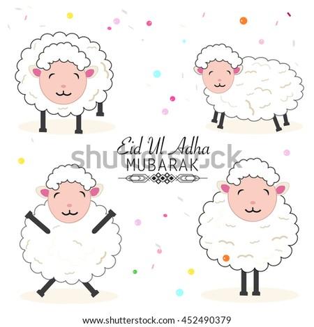 Funny sheep vector illustration. Islamic festival of sacrifice, eid al adha celebration greeting card - stock vector