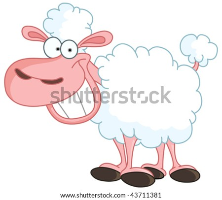 Funny sheep with big smile - stock vector