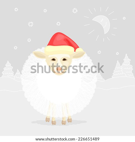 Funny sheep with red cap on winter background