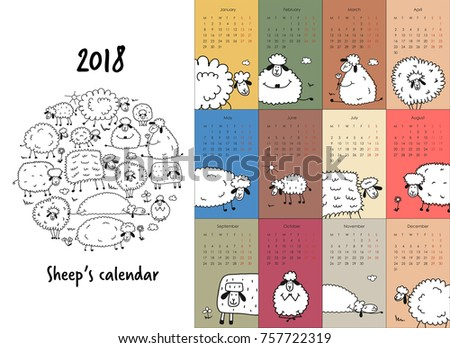 Funny sheeps family, calendar 2018 design