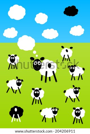 funny sheeps on a meadow