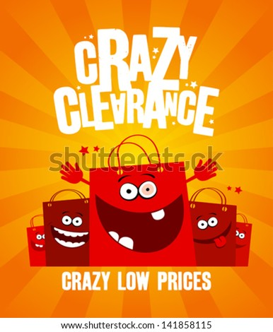 Funny shopping bags, crazy clearance banner - stock vector