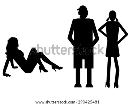 funny silhouette icon dolls and sexy woman